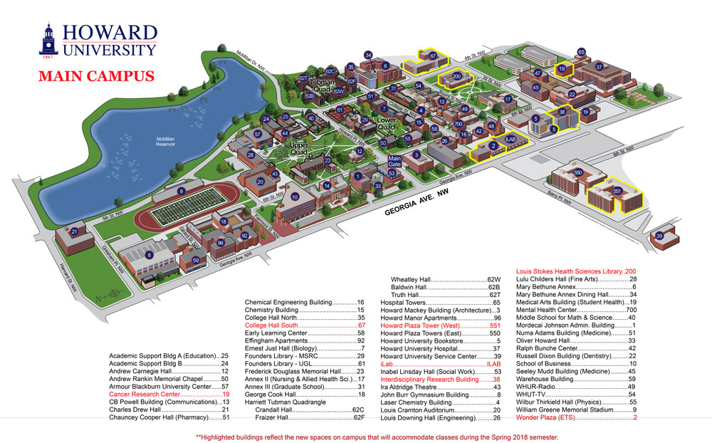 Howard University Campus Map Campus Map | Howard University