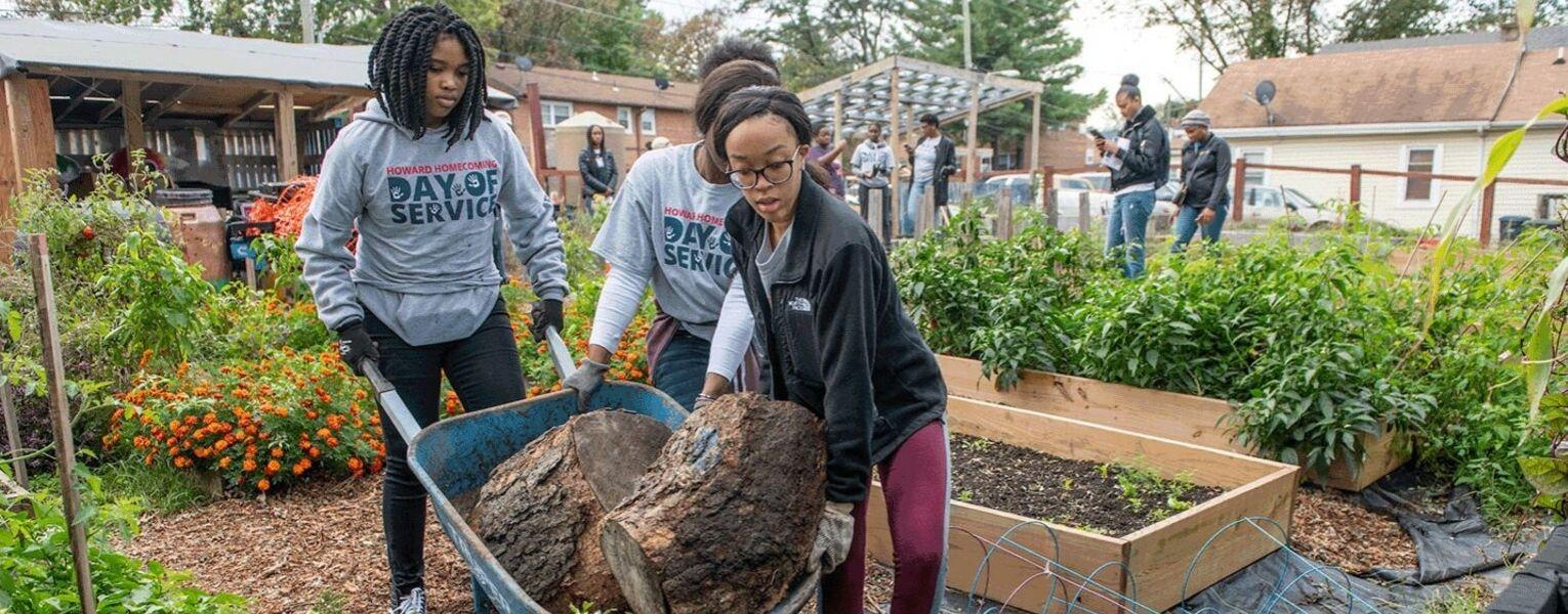 Howard University students doing  Community Service